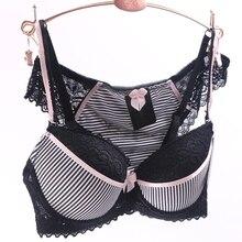 34,36,38,40,42,44 Black Push Up Bra Set ABC Cups Sujetador Encaje Polyester Underwear Women Sexy Panties And Bra Sets DE0037