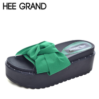HEE GRAND Bowtie Platform Sandals 2017 Beach Creepers Flip Flops Casual Shoes Woman Slip On Sippers
