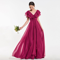 Tanpell tiered bridesmaid dress burgundy sleeveless floor length a line gown lady wedding party custom formal bridesmaid dresses
