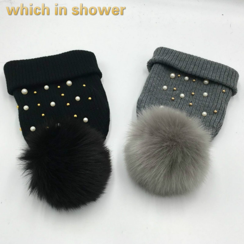 which in shower women faux fox fur pompom warm knitted hat fashion female cap pearl winter   skullies     beanies   with pom poms top