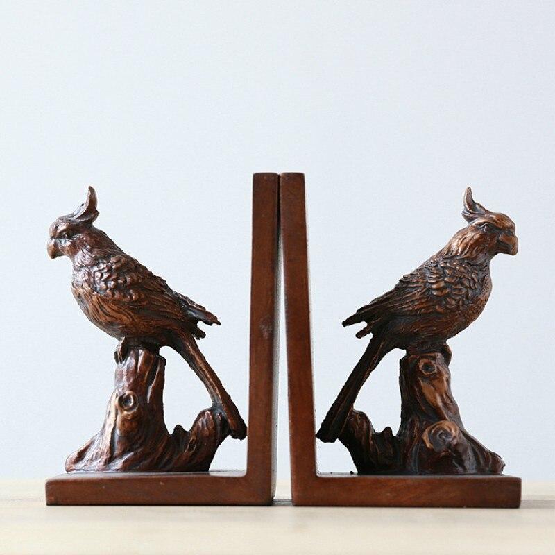 Pays américain résine oiseau serre-livres décoratifs oiseaux perroquet résine livres et accessoires serre-livres