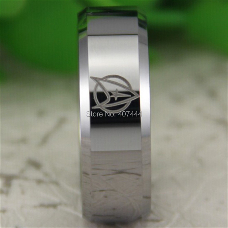 free shipping usa uk canada russia brazil hot sales 8mm silver bevel star trek design mens - Star Trek Wedding Ring