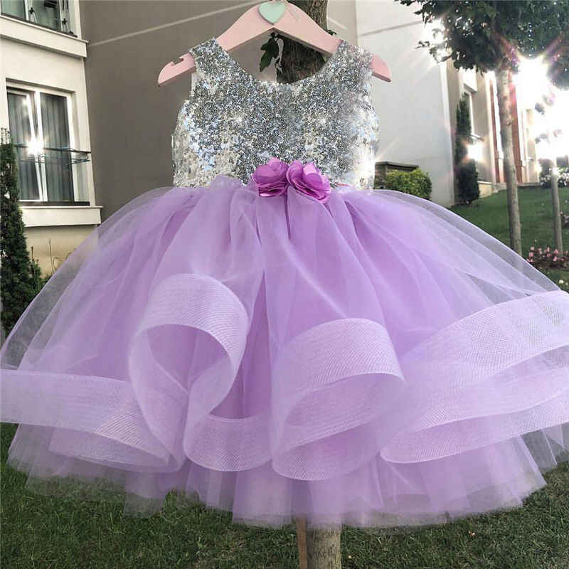 ea007aa70 Baby Sequin Christmas Dress Girls Christening Flower tutu Ball Gown Little  Princess Birthday Party Clothing Fluffy