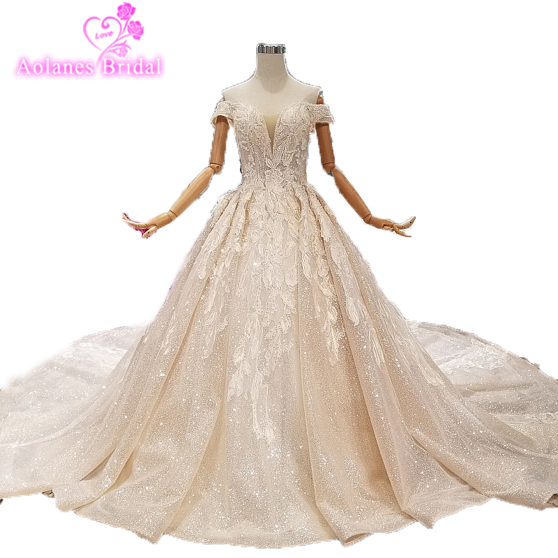 Custom Made Puffy Bridal Wedding Dress With Long Train