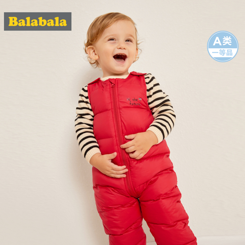 Balabala Infant Baby Boy Girl Quilted Sleeveless Puffer Jumpsuit With Zip Newborn Babys Down Jumpsuit One-Piece Open Shoulder