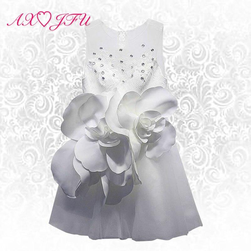 AXJFU princess big flower short evening dress white rose flower evening Dress lace beading flower little white dress size 14