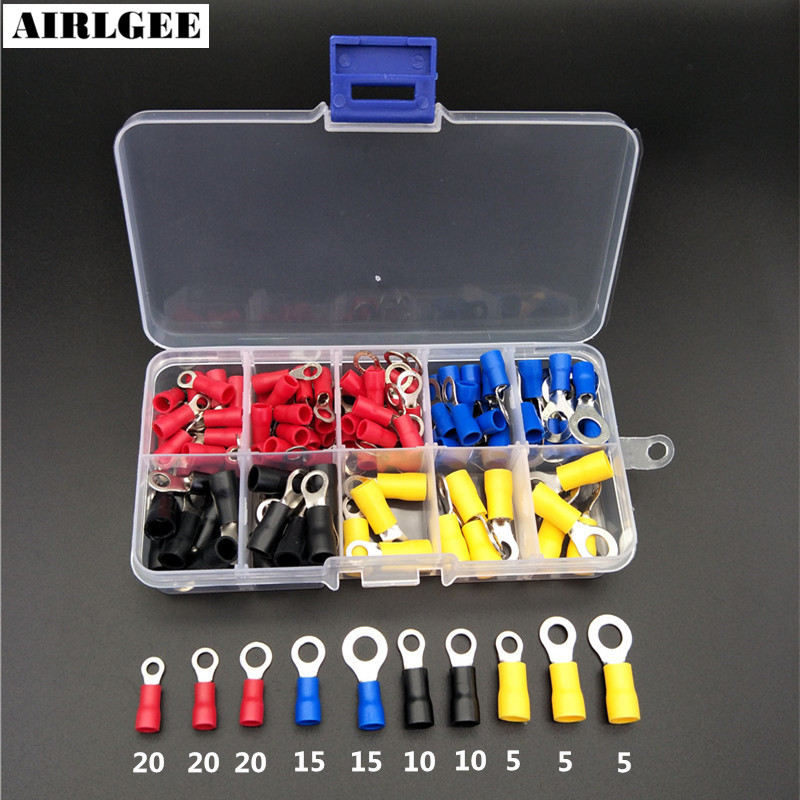 цена на 125Pcs Ring Terminal Copper Crimp Pre-Insulated terminals Ring Wire Connector End Kit Set