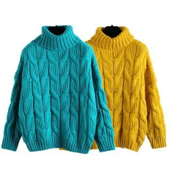 2018 Women Turtleneck Knit Sweater Winter Thicken Retro Knitted Pullovers Oversize Jerseys