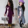 Cinza roxo casual meninas vestidos de manga comprida vestidos bonitos do gato dividir vestidos vestidos de inverno ninas de manga larga nina gato