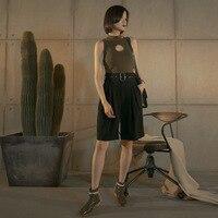 ZHEJIAN Pleat независимый дизайнер бренд Высокая Талия непосредственно Tube пояс Fivepence брюки и широкие брюки ноги