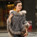 ZDFURS * Spring Autumn Rabbit Fur Cape Knitted Fur Poncho with Raccoon Fur Trimming Women's Sweatercoat ZDKR-165009