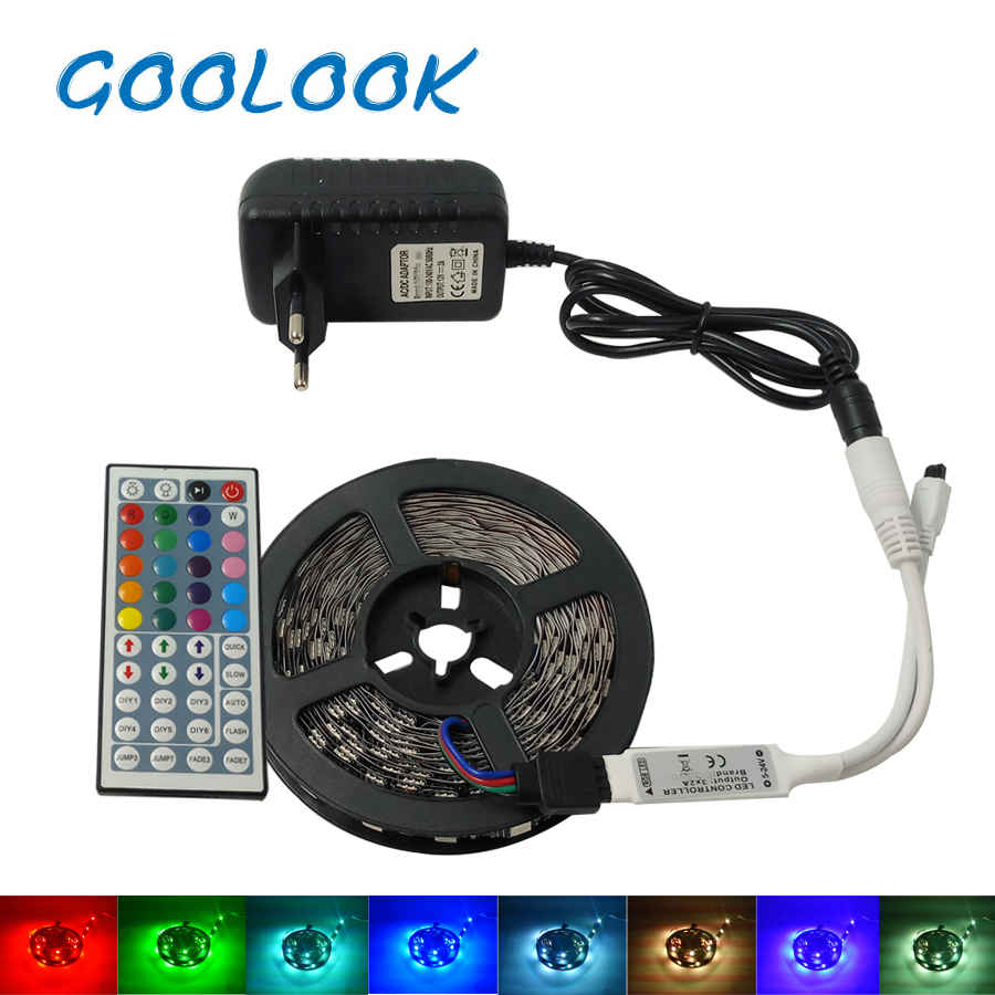 LED Strip Light RGB 5050 SMD 5M 10M RGB Light Strip IP20 Led Flexible Tape+ IR Remote Controller+LED Ribbon 12v Power adapter 5050 ip20 rgb led strip dc12v diode tape light with wireless wifi mini controller smart control 44 key ir remote controller