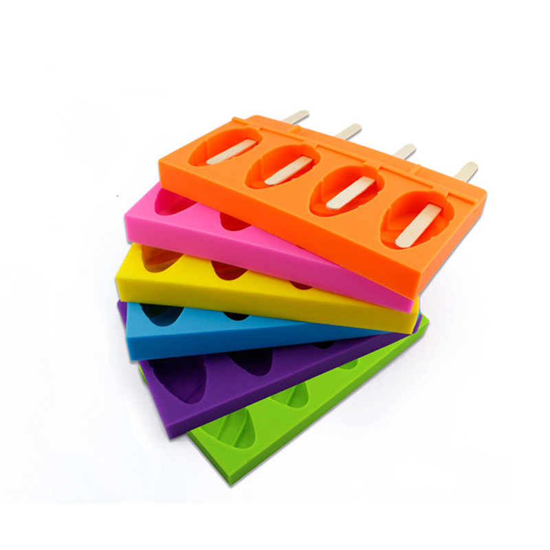 1Pcs   4 Caves Oval Shaped Silicone Ice Cube Tray Mold Ice Cream Pop Popsicle Mould Kitchen DIY