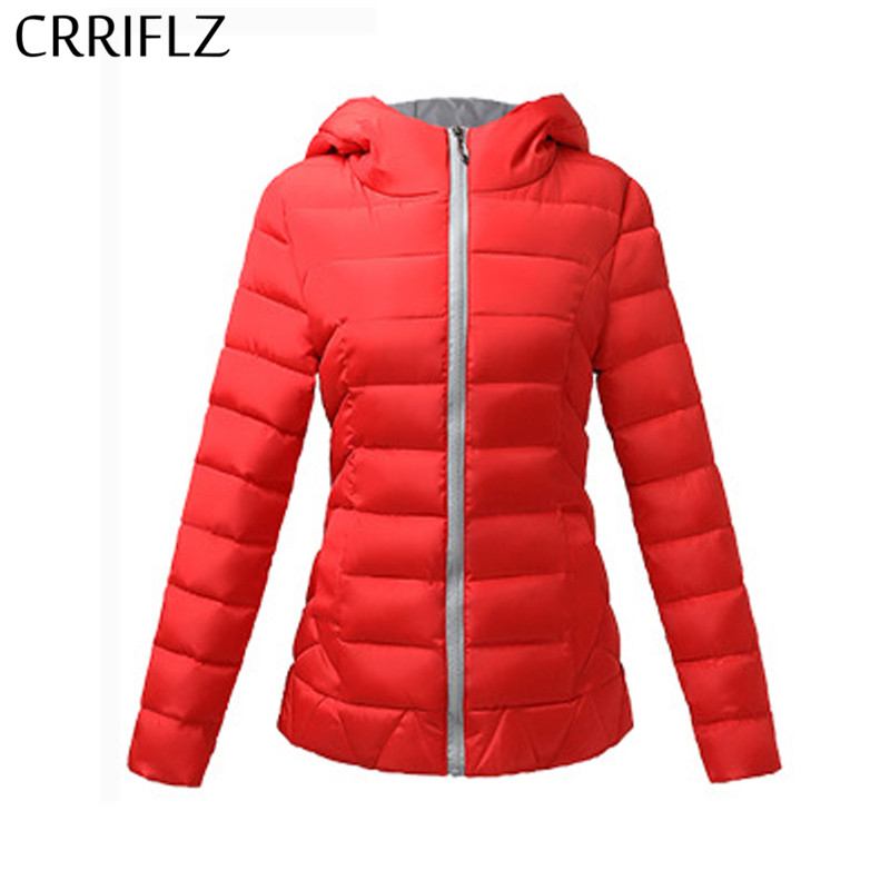 CRRIFLZ New 2018 Autumn Winter Collection Women Hooded Coat Warm Slim   Parkas   Female Thick Fashionable Short Solid Jacket