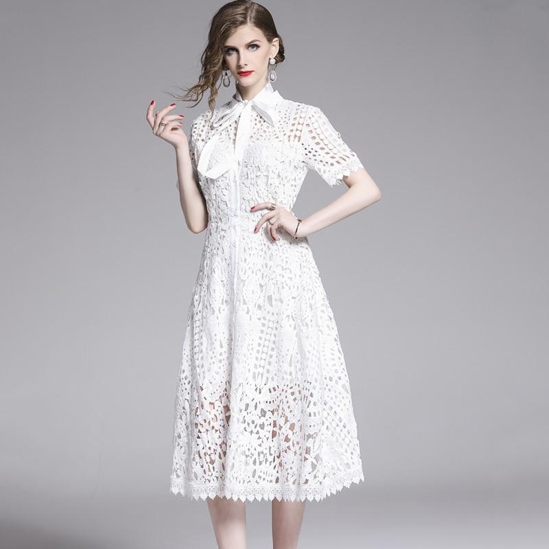 Elegant White Black Lace Hollow Out Dress 8