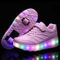 New 2016 Pink Child Fashion Girls Boys LED With Light Roller Skate Shoes For Children Sport shoes Kids Sneakers With Wheels
