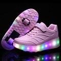 Novo 2016 Rosa Moda Infantil Meninos Das Meninas LEVOU Com Luz roller skate shoes para o esporte crianças shoes crianças sapatilhas com rodas