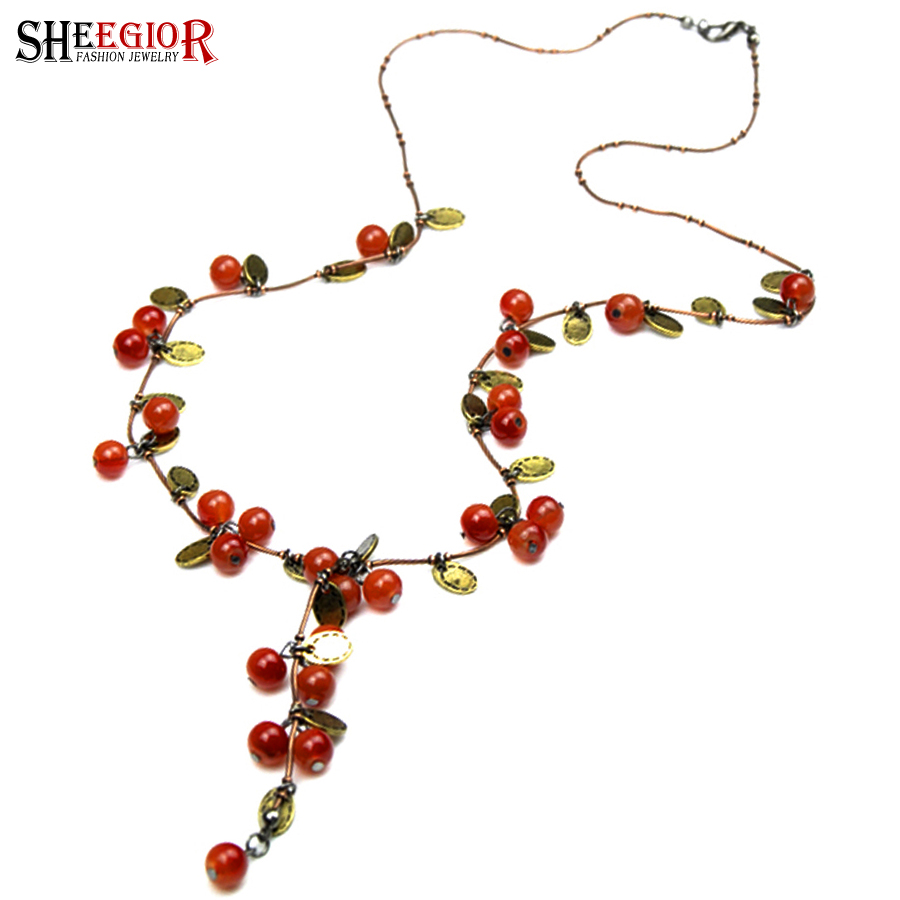 Sheegior Red Grape Choker Necklace Women Bts Accessories Vintage Bronze Copper Chain Beads Cherry Long Necklaces Fashion Jewelry Pendant Necklaces