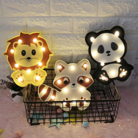 DELICORE Cute Animal Decorative LED Night Light Panda Cat Lion Marquee Table Lamps for Kids Children Bedroom Gifts Baby Nursery