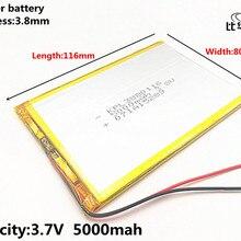 1 шт. 3,7 в, 5000 мАч 3880116(полимерный литий-ионный аккумулятор) литий-ионный аккумулятор для планшетного компьютера 7 дюймов 8 дюймов игрушка, портативное зарядное устройство, gps, mp3, mp4