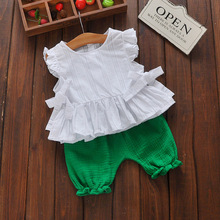 2016 Summer Girls Blouses + Shorts Knickers Suit Baby's Sets Baby Girl Clothing