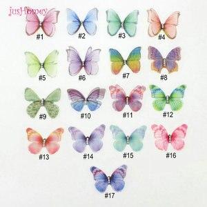 Image 5 - 100 adet degrade renk organze kumaş kelebek aplikler saydam şifon kelebek parti dekor, bebek süsleme