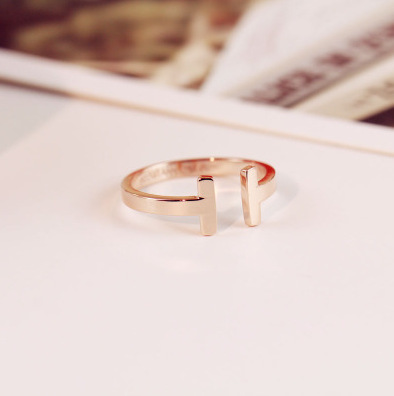new rose gold rings Korean fashion double T opening index finger ring titanium steel fastness charming girl Gift good quality