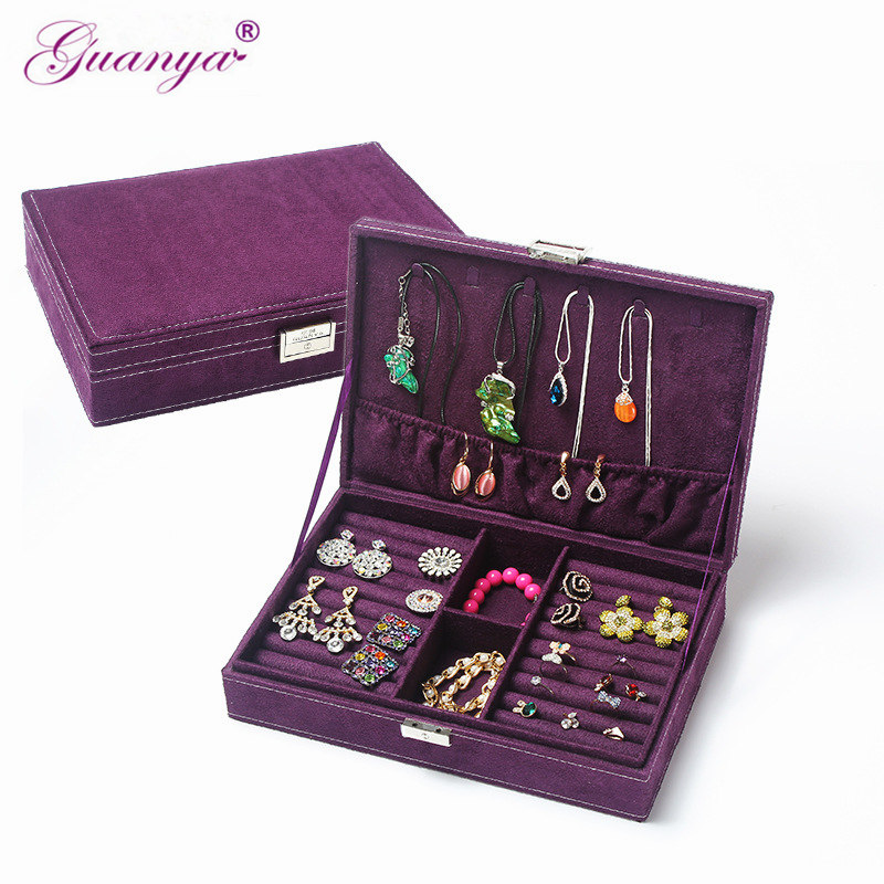 Guanya Hot Sell High-grade Velvet Jewelry Box, Studs Earrings Ring Storage Case,New Style Women Wedding Graduation Birthday Gift earrings