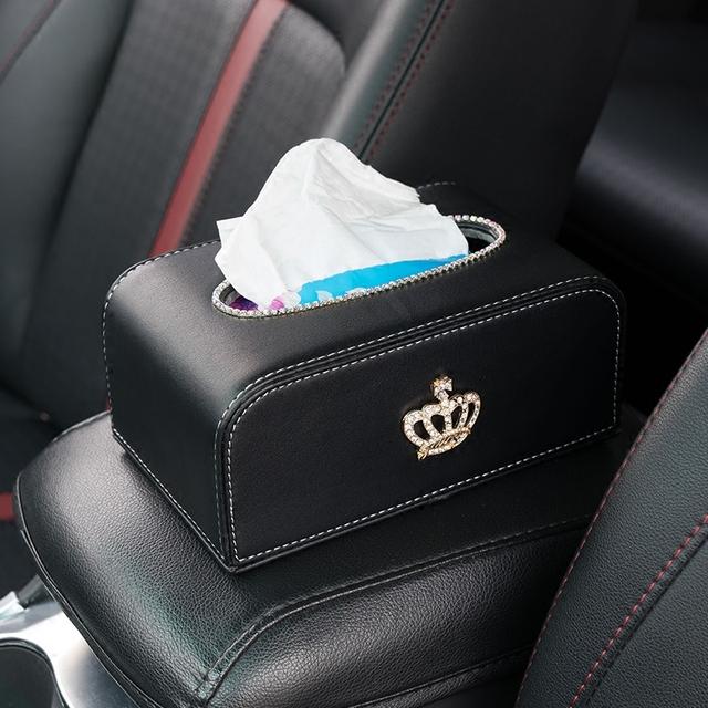 Caja de pañuelos coche de cuero de alto grado con la corona negro caja de almacenamiento de la toalla de papel auto de interior accesorios para automóviles styling