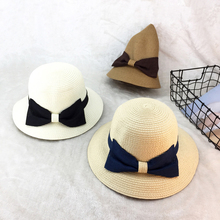 summer 2019 new straw hat women wide brim beach bow-knot sun foldable block UV protection Sun Hat