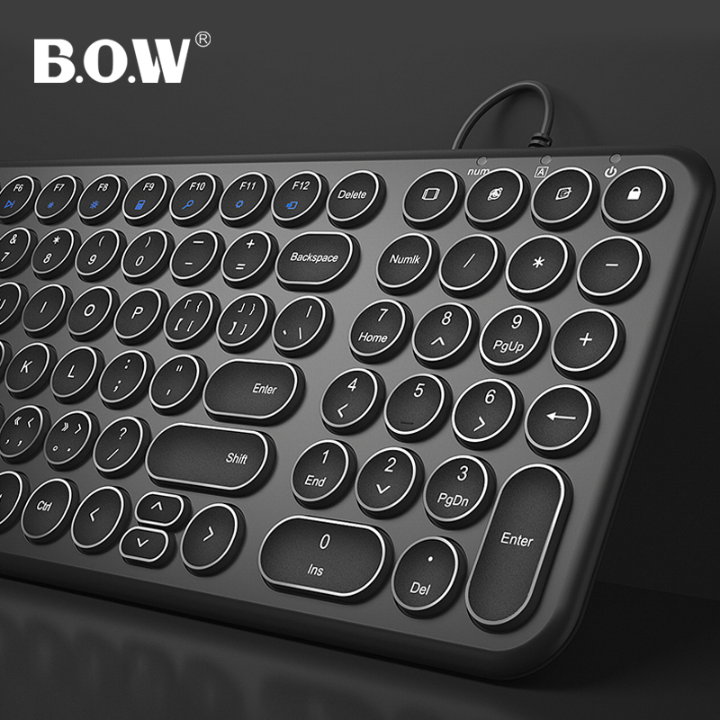 B.O.W  100 Keys Wire Thin Keyboard, Ultra-Slim Wired USB Multimedia Mini Keyboard(Round keys) for Pc /Computer/ Laptop/ Mac