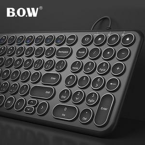 Image 2 - B.O.W سلك لوحة المفاتيح 96 مفاتيح مستديرة ، فائقة النحافة السلكية USB ميناء KB التوصيل والتشغيل كتابة مريحة للكمبيوتر/الكمبيوتر/الكمبيوتر المحمول/ماك