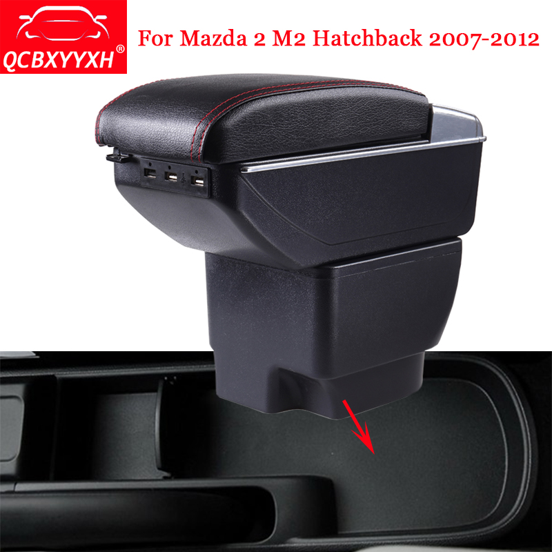 QCBXYYXH Car Styling ABS Car Armrest Box Center Console Storage Box Holder Case Accessories For Mazda 2 M2 Hatchback 2007-2012