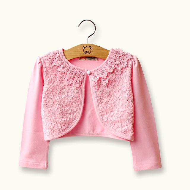 Alta qualidade botão de pérola menina brasão da longo-luva de algodão poliéster meninas cardigan primavera outono roupa dos miúdos verão KC1602