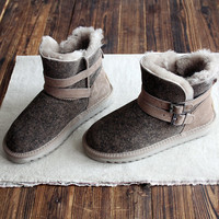 2018 Winter New Wool Cowhide Leather Belt Buckle Warm Waterproof Flat Winter Snow Boots And Ankle