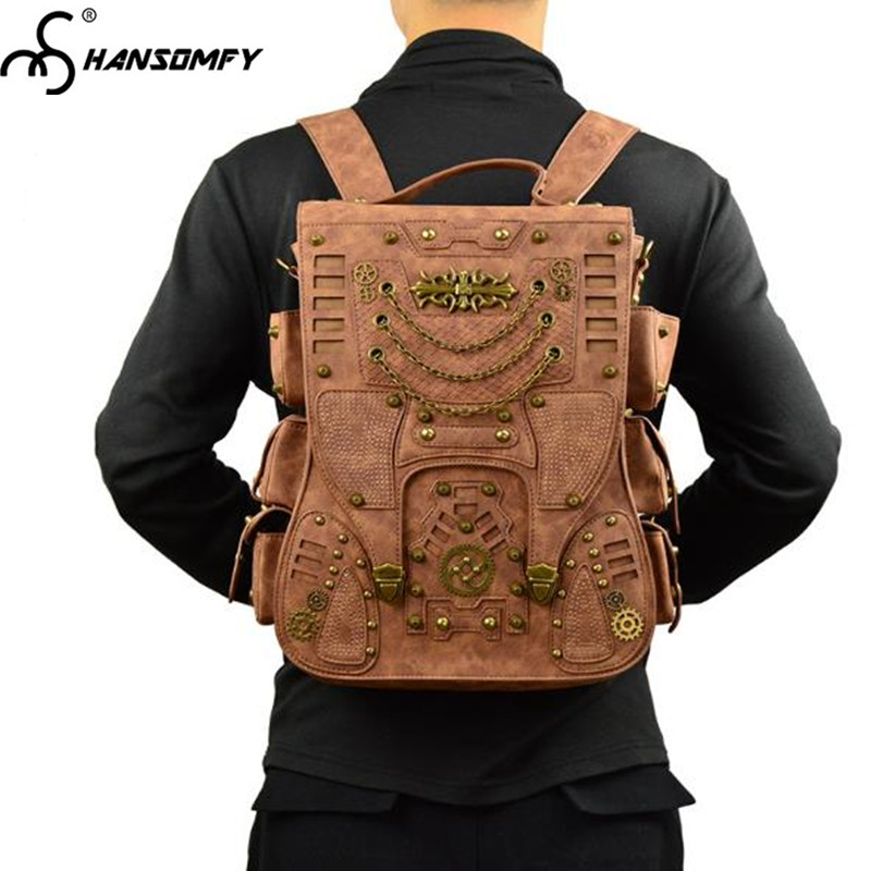 все цены на 2018 new Unisex Backpack steampunk brown Leather Men Women shoulder Bags female male rivet travel backpack