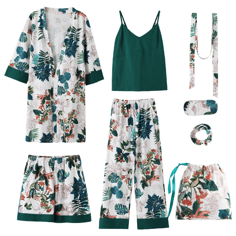 Women Cotton 7 Pieces   Pajamas     Sets   With Pants Spring Summer Female Flower Print Pyjama Sleepwear Soft Elegant Pijama Homewear