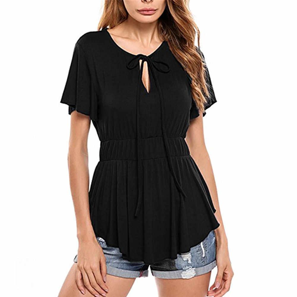 Женская однотонная XL 2XL 3XL 4XL 5XL больших размеров с коротким рукавом, облегающая блузка, топ, туника, рубашка с круглым вырезом, летний топ Blusa