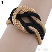 Metal Alloy Concise Knitted Compilation Temperament  Crossover bangles bracelets for women  1OTS