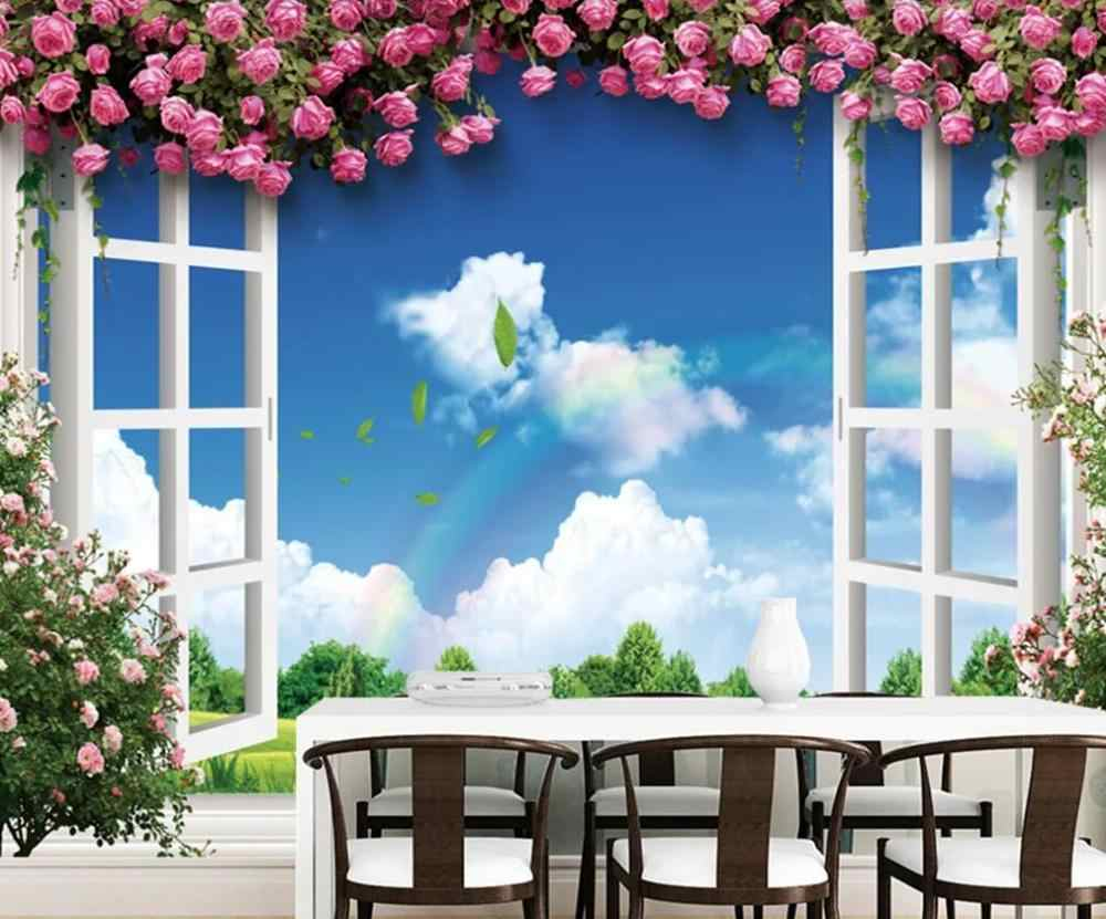 Customized 3d Wallpaper Mural Blue Sky White Clouds Green Grass