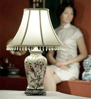 Chinese Hand Drawing Pattern Pattern Ceramic Table Lamps Brief Fabric Art Shade Lamp For Table Bedside