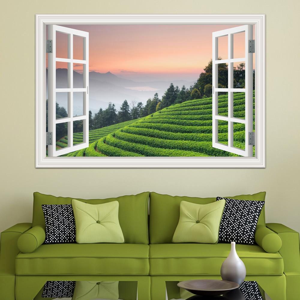 Wallpaper Decals: 3d Landscpe Decals Green Removable Tea Garden Wall