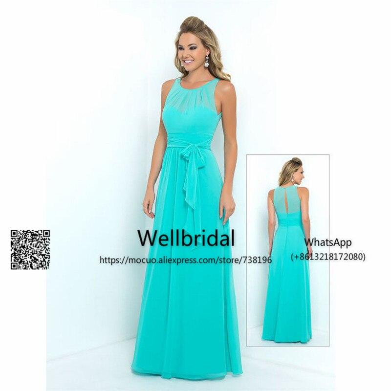 6039 16 De Descuentoplaya 2017 Aqua Teal Vestido De Dama De Honor Con Cintas Vestido De Fiesta De Boda Vestido Largo De Fiesta De Graduación