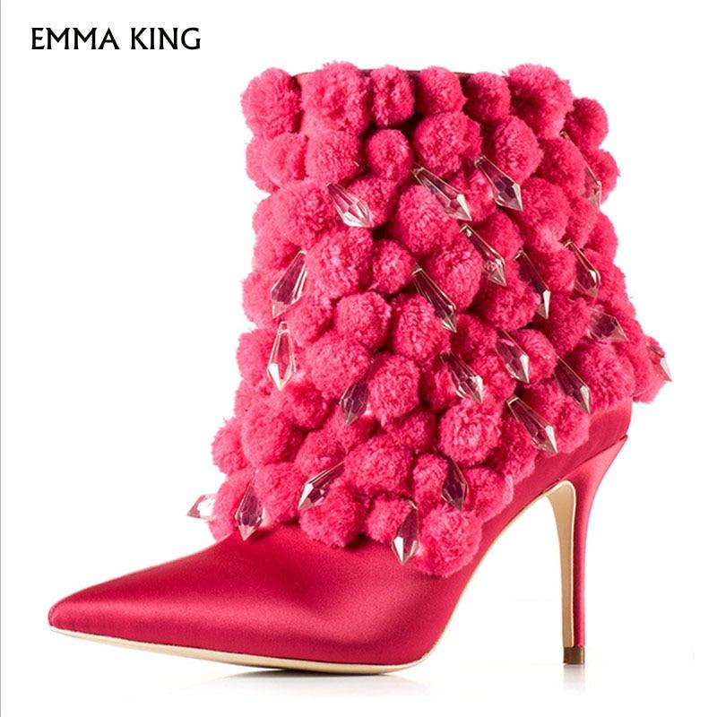 Mujeres Tobillo Lindo Pie Otoño Gratis Tacón De Fiesta Mujer invierno Red  Zapatos Envío Del Dedo Alto Rose Moda Botas Nueva q4wtXtI d1485aef713b