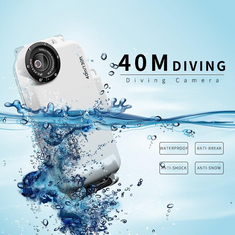 40 mètres de profondeur de plongée étanche coques de téléphone pour iphone XS P20 S9 XS randonnée natation caméra sous-marine objectif Fisheye entièrement fermé