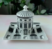 Fornasetti Plates Classic Art Black and White Ceramic Plate Decorative Castle Candle Holder Home Decor