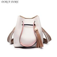 11 11 2017  New Bag, Fashionable Bucket Bag, Hit Color Wide Shoulder Strap, Single Shoulder Bag Simple  Leather Bags Women