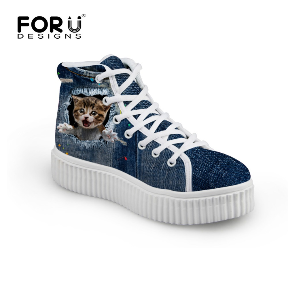 Mignon femmes haut haut plate-forme chaussures Demin Pet Cat imprimer dames Creepers chaussures respirant plat femme Crepper filles Animal Zapatos