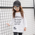 2017 spring new girl printed hole hole T-shirt children Korean version of long long sleeves T-shirt