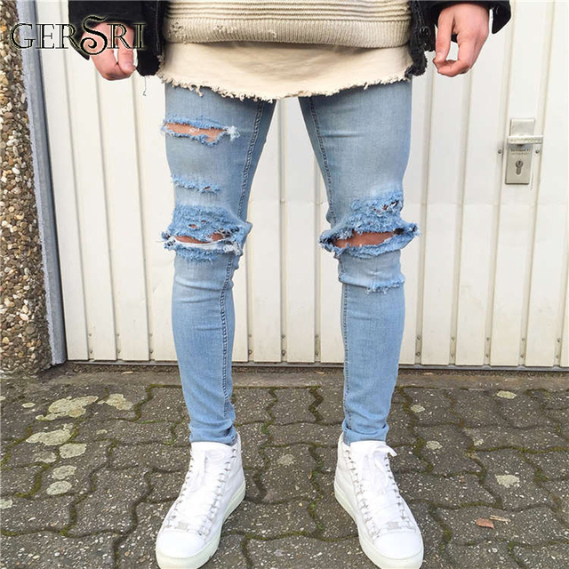 3b15eed7494a Gersri Jeans Destroyed Frayed Slim Fit Denim Trousers Men s Jeans Ripped  Skinny Slim Jeans Light Blue Hole Jeans Male Fashion